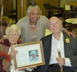 Verna Splane with her husband Dick Splane and UNAC Vancouver Past President Patsy George